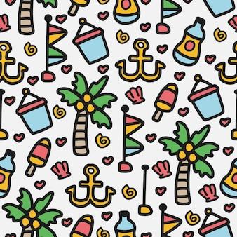 Plaża doodle kreskówka wzór