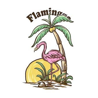 Plaża flaminggo z tropikalnymi roślinami vintage