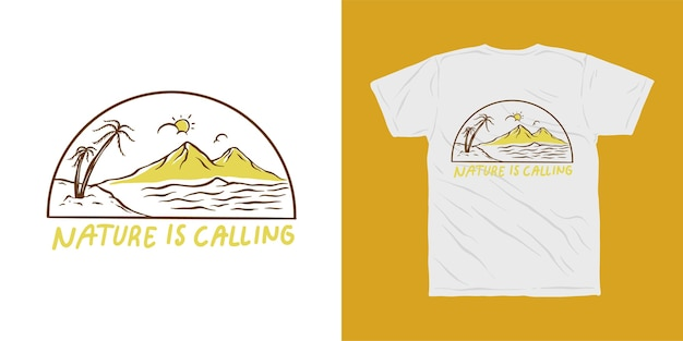 Plaża i góry, natura wzywa ilustracyjny projekt koszulki