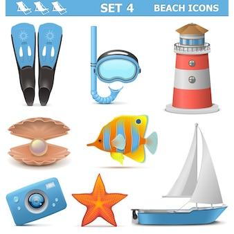 Plaża ikony zestaw 4 na białym tle