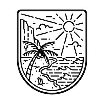 Plaża morze natura dzika linia odznaka patch pin graficzny ilustracja