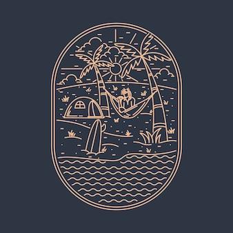 Plaża morze natura dziki graficzny ilustracja projekt koszulki