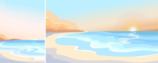 Plaża o świcie. piękny krajobraz w orientacji pionowej i poziomej.