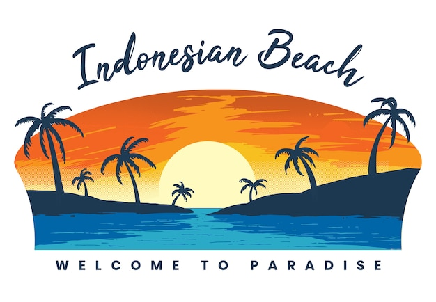 Plaża o zachodzie słońca ilustracji