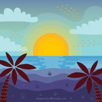 Plaża o zachodzie słońca z palmami