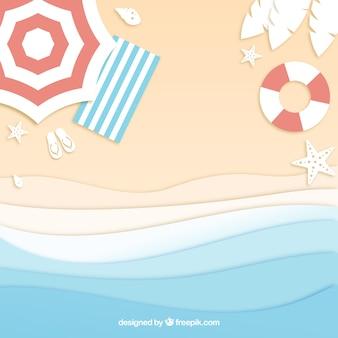 Plaża od góry w stylu papieru