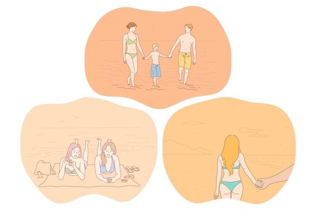Plaża, odpoczynek, relaks, lato, wybrzeże, wypoczynek, koncepcja podróży. postaci z kreskówek osób podróżujących