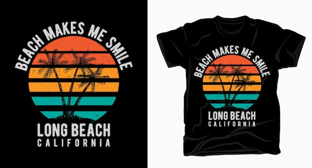 Plaża sprawia, że uśmiecham się vintage typografia do projektowania t-shirtów