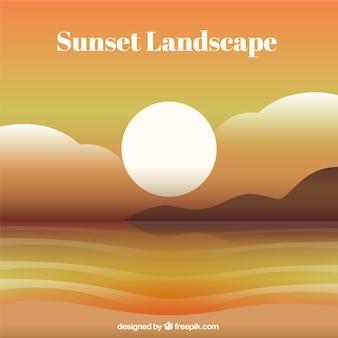 Plaża tle krajobraz o zachodzie słońca
