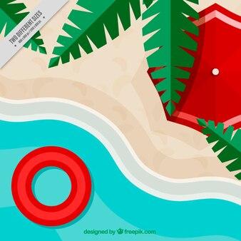 Plaża tło w płaskiej konstrukcji