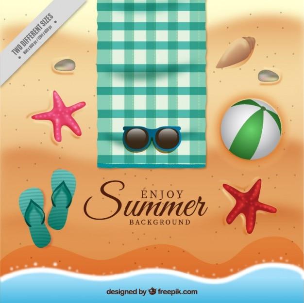 Plaża tło z elementami letnich