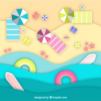 Plaża z góry tło w stylu papieru