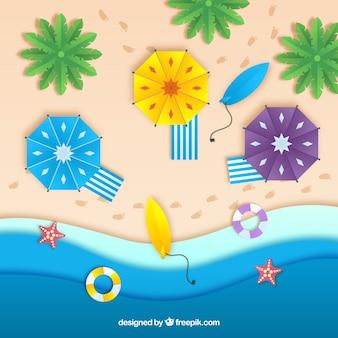 Plaża z góry z teksturą papieru