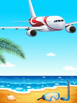 Plaża z podniesionym samolotem