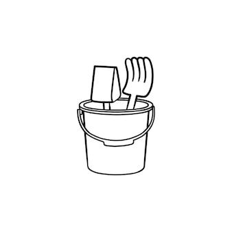 Plaża zabawki ręcznie rysowane konspektu doodle ikona. zabawka łopata i grabie w wiadrze do gry w ilustracji szkic wektor piaskownicy do druku, sieci web, mobile i infografiki na białym tle.