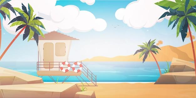 Plaża ze stanowiskiem ratownika w stylu cartoon. .