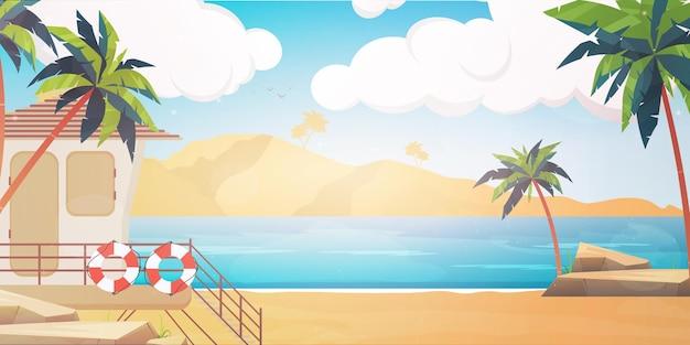 Plaża ze stanowiskiem ratunkowym. letnia wyspa ilustracja w stylu cartoon.