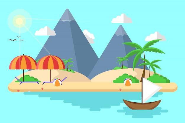 Plażowa wyspa na lato