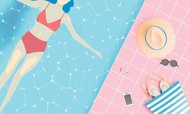 Plażowe rzeczy papierowy styl sztuki