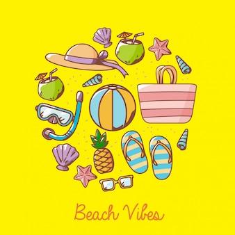 Plażowi kreskówka elementy