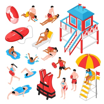 Plaży ratownik izometryczny zestaw inwentarza ratownictwa stacji ratowników i oszczędzających wykonujących sztuczne oddychanie na białym tle