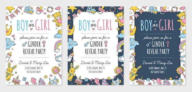 Płeć ujawnia szablon zaproszenia na przyjęcie dla chłopca lub dziewczynki