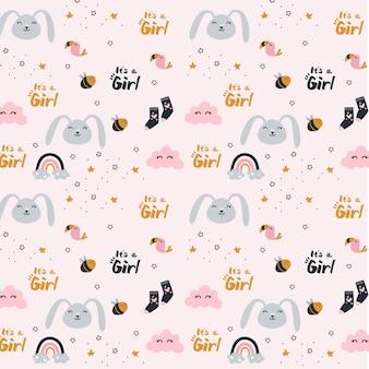 Płeć Ujawniona Dziewczynki - Wzór Premium Wektorów