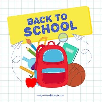 Plecak i materiały szkolne o płaskim designie