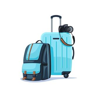 Plecak i walizka na białym tle.