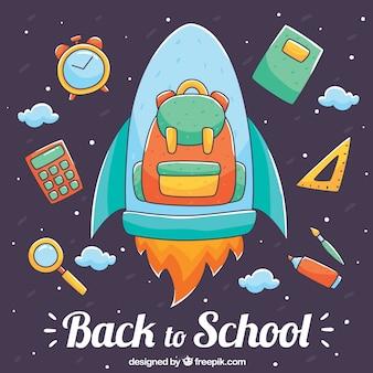 Plecak na rakiecie z elementami szkolnymi