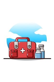 Plecak pierwszej pomocy i kreskówka medycyna