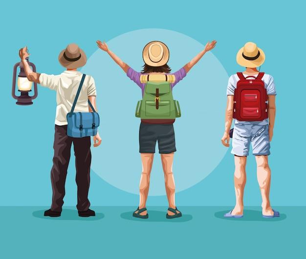 Plecak podróżników kreskówka młodych turystów
