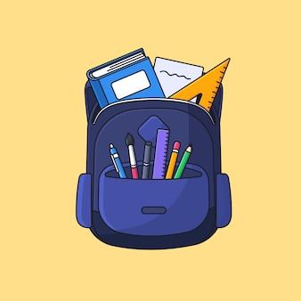 Plecak studencki z pełną ilustracją wektorową narzędzi do nauki na powrót do szkoły koncepcja konturu kreskówka płaska konstrukcja