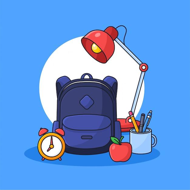 Plecak studencki z pełnymi narzędziami do nauki i siedzącą lampą konspektu kreskówki stylu ilustracji