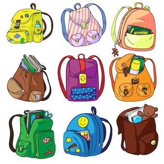 Plecak szkolny. plecak szkolny kreskówka na białym tle. kolekcja tornistrów lub tornistrów dla studentów. pakiet ikon plecaka ucznia z ilustracją materiałów edukacyjnych i naukowych