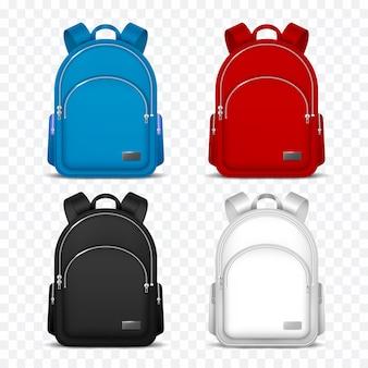 Plecak szkolny. plecaki dla dzieci. torba podróżna z przodu na plecak. 3d wektor