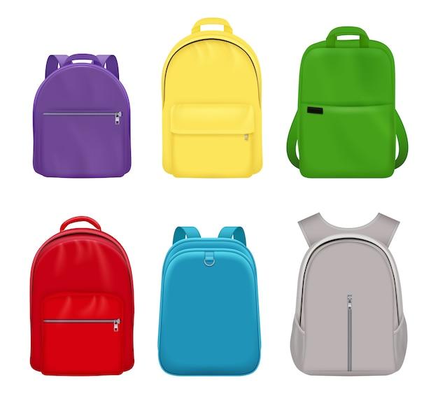 Plecak szkolny. studenci realistyczni studenci podręczne przedmioty kolekcja bagażu podróżnego z przodu. ilustracja plecak szkoła, plecak i bagaż, plecak i plecak
