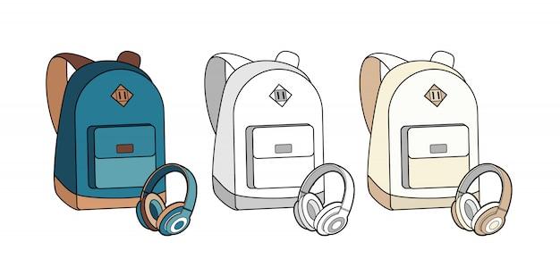 Plecak, torba, plecak i słuchawki wektor zestaw na białym tle.