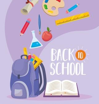 Plecak z kolbą erlenmeyera i książką z ołówkami
