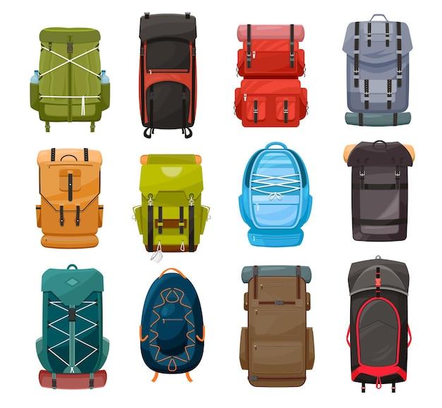 Plecaki, plecaki na obóz trekkingowy torby podróżne ze sznurowaniem na sprzęt turystyczny, turystyczny, kempingowy i wspinaczkowy. turysta plecaki lub plecaki na białym tle zestaw ikon kreskówka na białym tle
