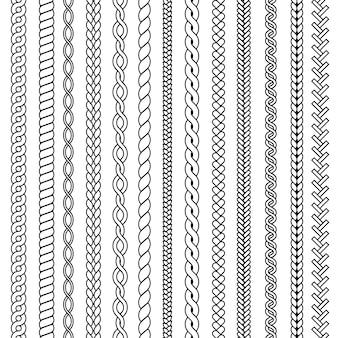 Plecionki i warkocze. fale z dzianiny rysunek ozdobnych bez szwu kolekcji. wzór warkocz i nitka, warkocz sznurkowy