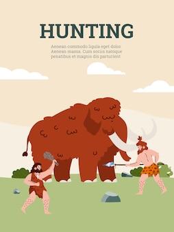 Plemię prymitywnych jaskiniowych ludzi z epoki kamienia łupanego z prehistoryczną bronią polującą na mamuta