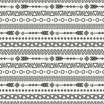 Plemienna ręka rysujący kreskowy meksykański etniczny bezszwowy wzór.