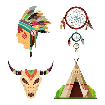 Plemienne obiekty lub symbole zestaw indian amerykańskich. nakrycie głowy z piór wodza apaczów, łapacz snów, etniczny wigwam lub tipi oraz indiańska maska czaszki byka