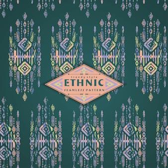 Plemienny etniczny bezszwowy wzór z geometrycznymi elementami.