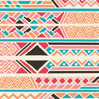 Plemienny etniczny kolorowy artystyczny wzór z geometrycznymi elementami, afrykańska borowinowa tkanina, plemienny projekt