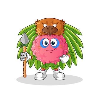 Plemienny mężczyzna maskotka mózgu. kreskówka