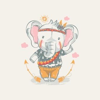 Plemienny słoń kreskówka z piór
