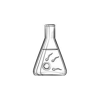 Plemniki i jajko w probówce laboratorium ręcznie rysowane konspektu doodle ikona. zapłodnienie in vitro, niepłodność i reprodukcja szkic wektor ilustracja do druku, sieci web, mobile i infografiki na białym tle.