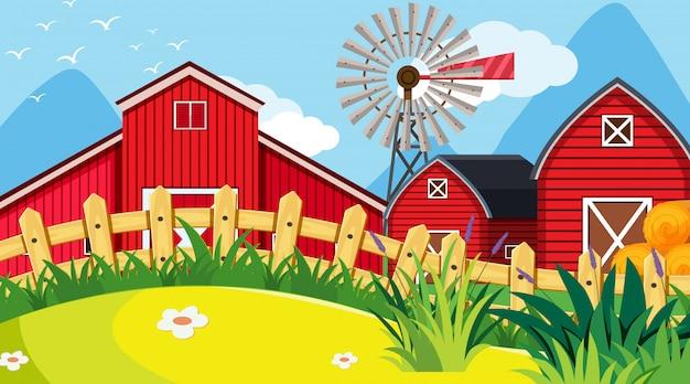 Plenerowa scena z gospodarstwem rolnym